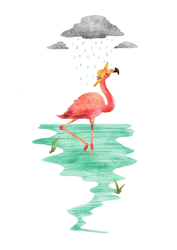 Illustration of pink flamingo wearing a hat under a cloud in a river.