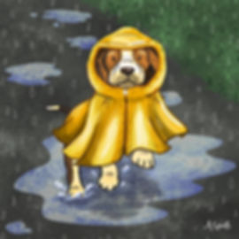 Colourful Illustration of a beagle dog in a raincoat character for the Daily Doggy Doodle Series.
