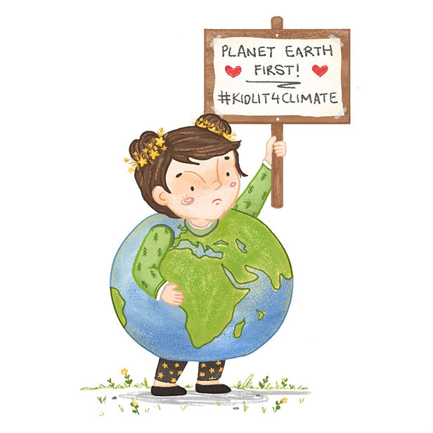 #KidLit4Climate children's book illustration of a girl in an Earth costume