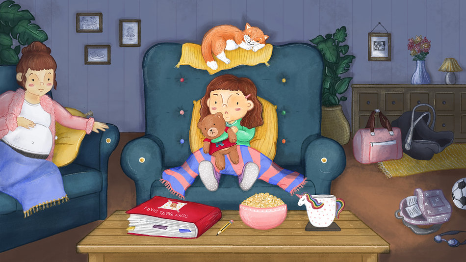 Children's illustratin of a girl looking sad holding a teddy bear. Rory Bear for BBC Scotland Learning