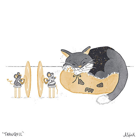 Inktober Illustration of a Cat & Mouse. Ink Drawing in Orange, Black, Grey. Halloween Theme.