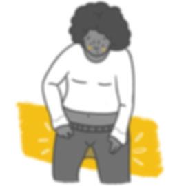 Line Art Icon Illustration of a woman wearing tights. Black, Grey, White & Yellow. Garni Tights