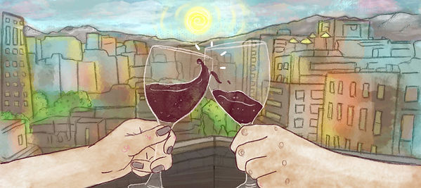 Illustrated Travel Blog header. Colourful ilustration of two wine glasses cheersing