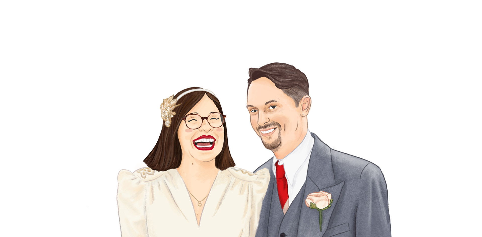 Illustrated Digital Wedding Couple Portrait. Bride & Groom Personalised Gift.