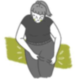 Line Art Icon Illustration of a woman wearing tights. Black, Grey, White & Green. Garni Tights