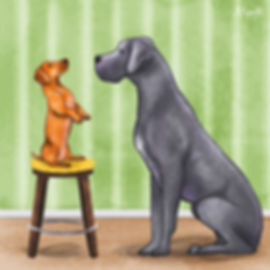 Colourful Illustration of a daschund and mastiff dog character for the Daily Doggy Doodle Series. Small dog syndrome