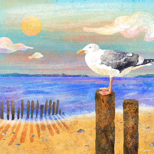 Illustration of a seagull at the seaside. Sunset beach drawing