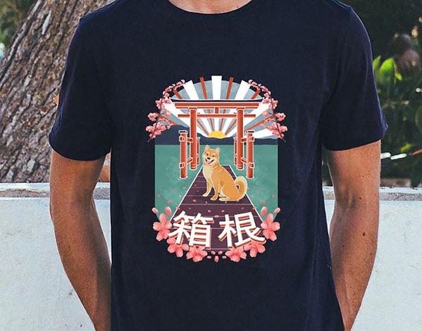 Japan T-shirt Design. Illustration of a shiba inu dog under a Tori gate in Hakone