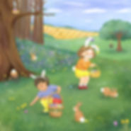 Illustration of a Spring Easter Egg Hunt with bunny rabbits