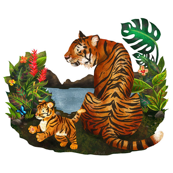 Tiger & Cub illustration. Colour collective digital drawing of animals.