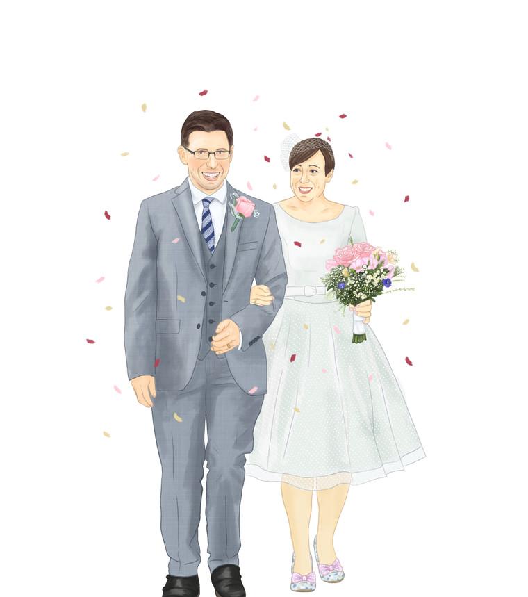 Illustrated Digital Wedding Couple Portrait. Bride & Groom Personalised Gift.
