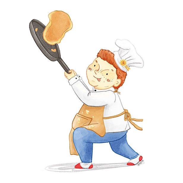 Illustration of a boy flipping a pancake in an apron and chefs hat
