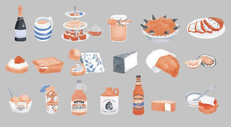 Food icons for an illustrated map. Illustration icons of cheese, fish, afternoon tea, pie, drink, ice cream, pasty.
