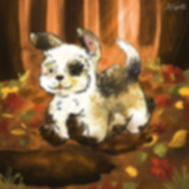 Colourful Illustration of a puppy dog character for the Daily Doggy Doodle Series.