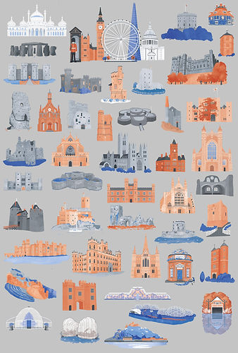 Building icons for an illustrated map. Illustration icons of Cathedrals, castle, churches, forts and botanical gardens.