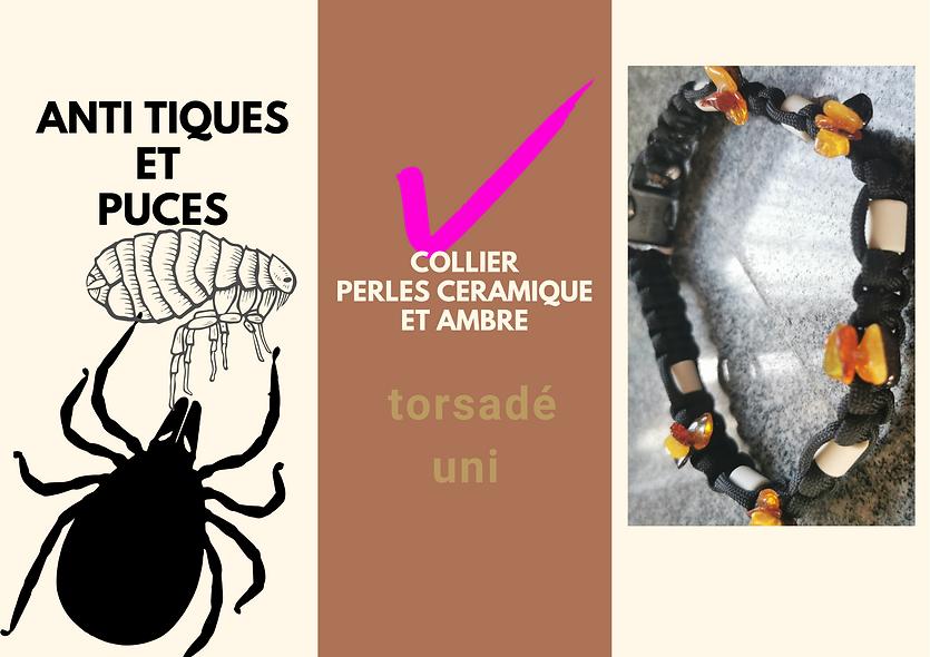 Colliers perles céramiques et ambre torsadé uni