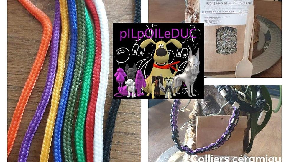 Colliers perles céramiques / un fil noir et 1 couleur à choix