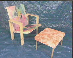hand dyed living room chair set 2020:mixed media,39 H x 55 W x 32 D