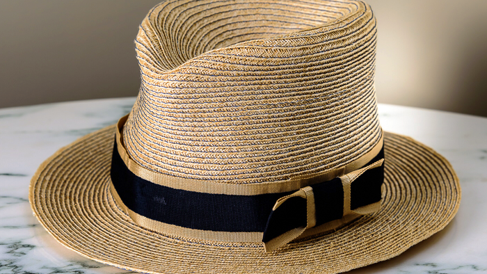 Natural Strawbraid Fedora, adorned in navy & cream