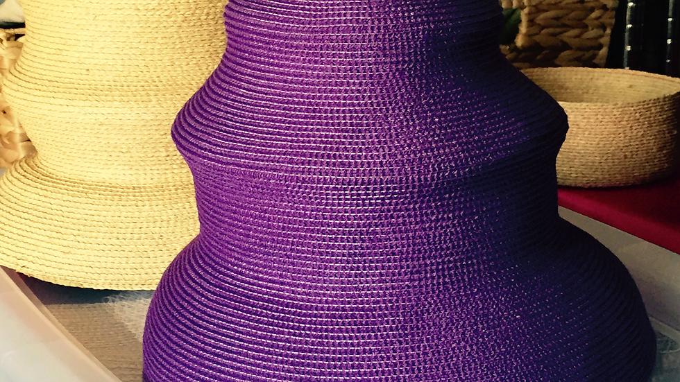 Purple Strawbraid Beehive Sunhat