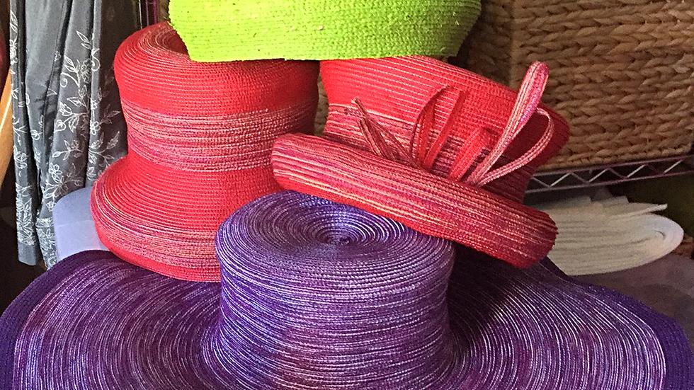 Purple Variegated Straw Sunhat