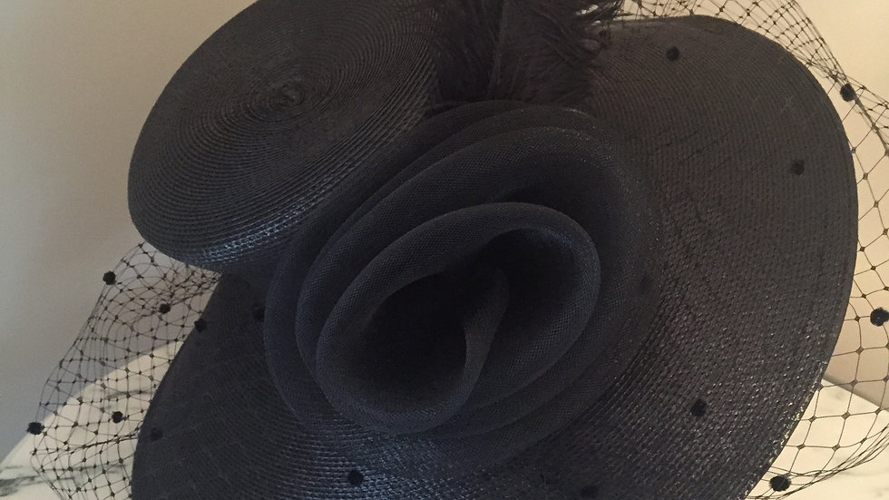 Black Sunhat with adornment