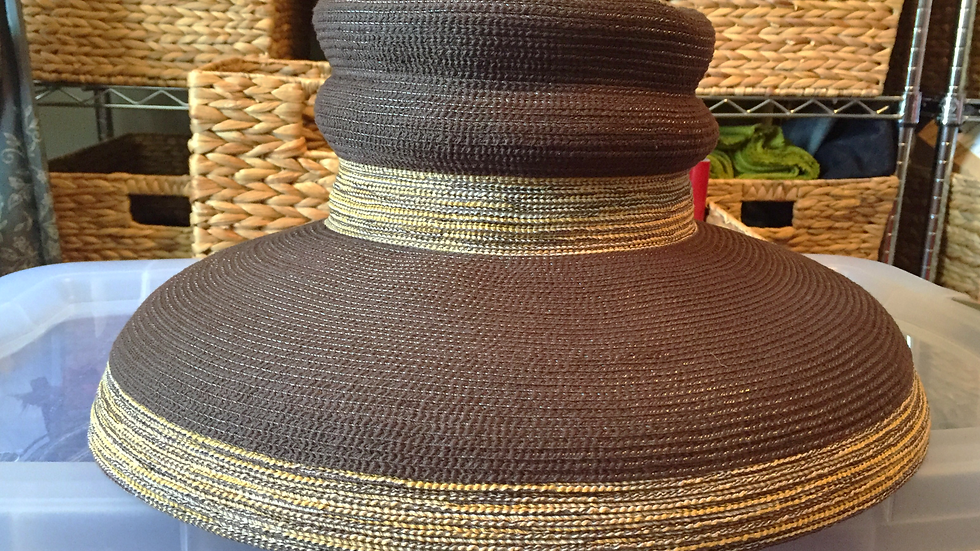 Brown & Variegated matching neutral striping Bubble Sunhat