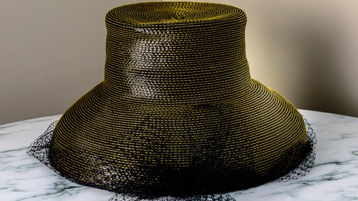 Black Strawbraid All Occassion Hat, contrasting yellow thread