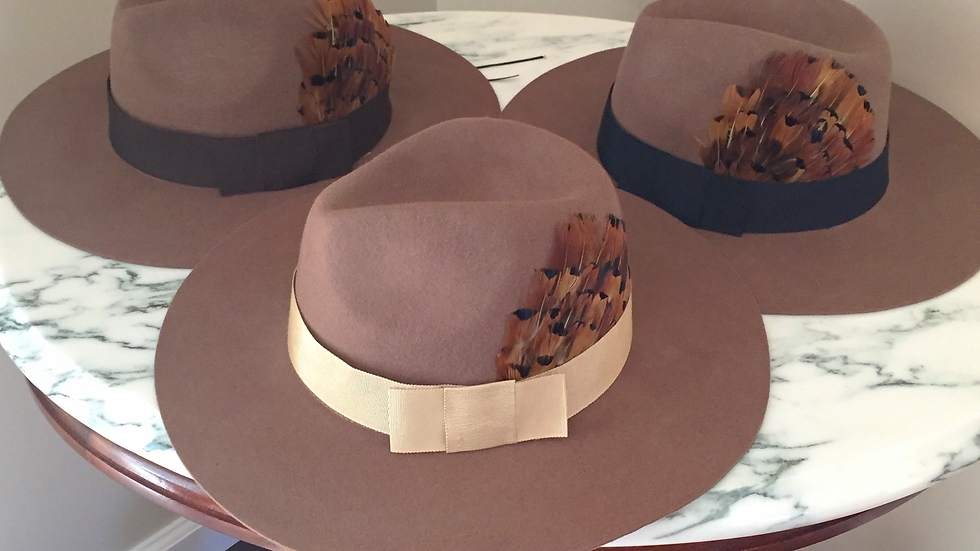 Felted wool Fedora with feather adornment