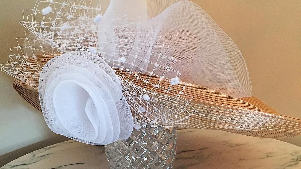 Champagne Strawbraid sewn and adorned in white