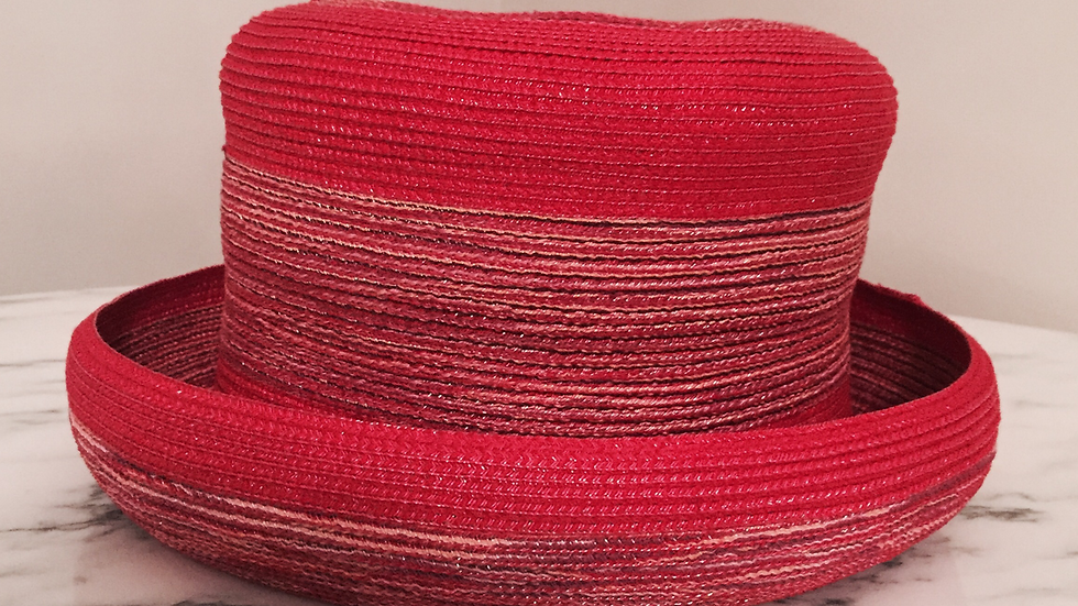 Red Strawbraid Cloche, variegated red striping