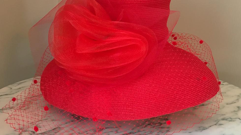 Red Adorned Strawbraid Bubble Sunhat