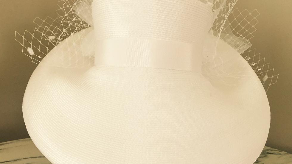 White Strawbraid Sunhat, adorned in white