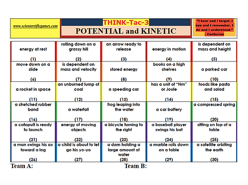 Potential and Kinetic Energy Think-Tac-3