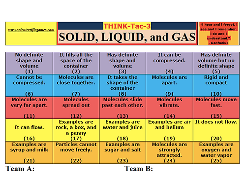 Solid, Liquid and Gas Think-Tac-3