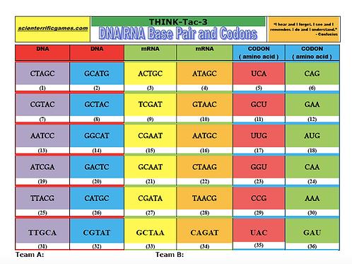 DNA/RNA Base Pairs and Codons Think-Tac-Three