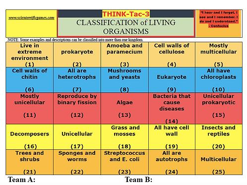 Classification of Living Organisms Think-Tac-Three