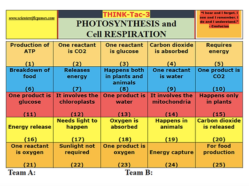 Photosynthesis and Cell Respiration Think-Tac-3