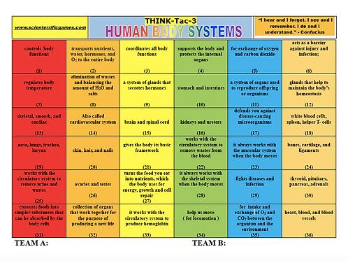 Human Body Systems Think-Tac-Three