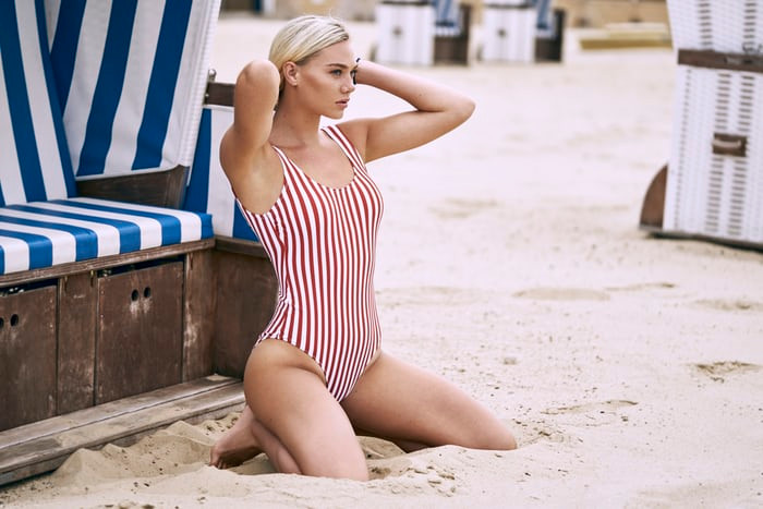 CLOTHING MANUFACTURERS UK | STRIPED SWIMSUIT