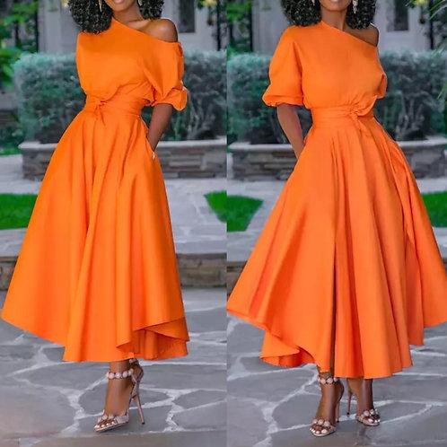 オレンジワンピ