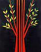 695.L'albero rosso 100x80 acrilico su te