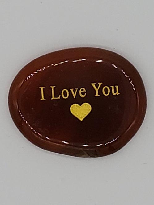 Carnelian I Love You Palm Stone