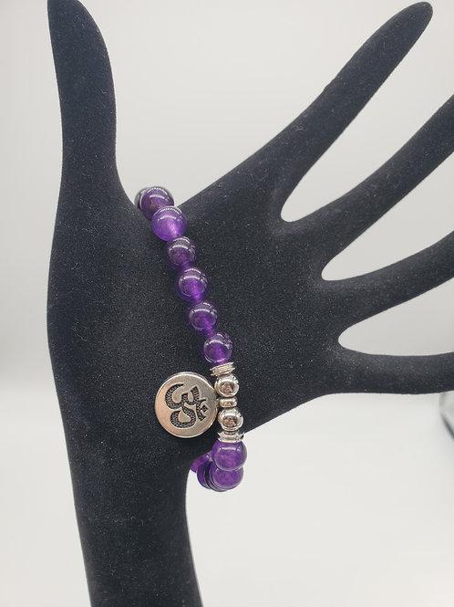 Amethyst Round Bead Stone Bracelet