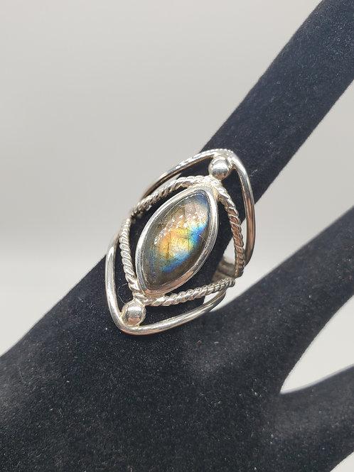 Framed Labradorite Ring