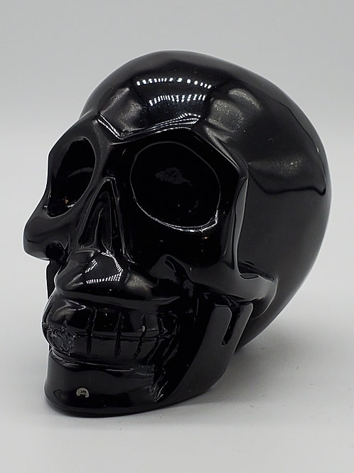 Black Obsidian Round Skull