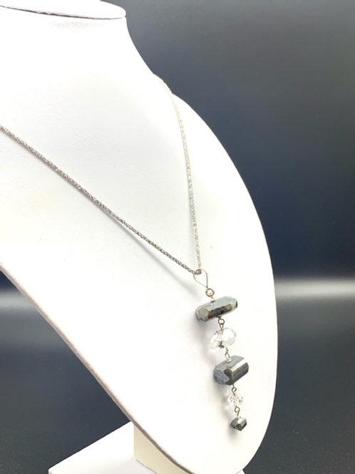 Herkimer, Hematite, and Quartz Necklace
