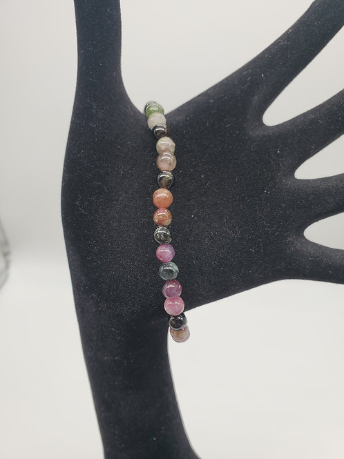 Pink Mix Tourmaline Round Bead Stone Bracelet