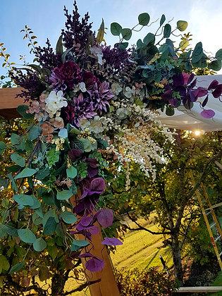 Purple & White Flowers w/Eucalyptus