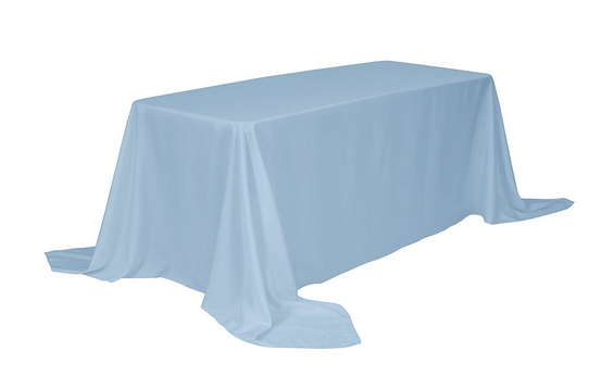 "90""x132"" Polyester Banquet Table Cloth-Baby Blue"